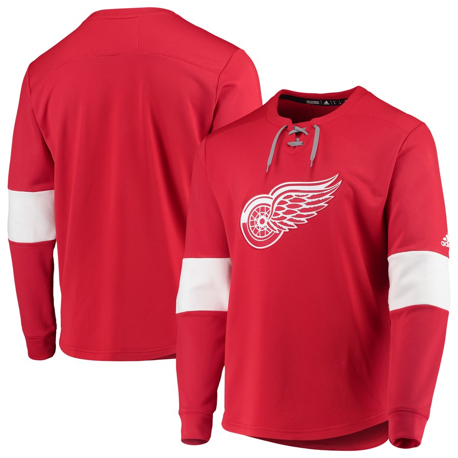 Detroit Red Wings adidas Platinum Long Sleeve Jersey T-Shirt Red