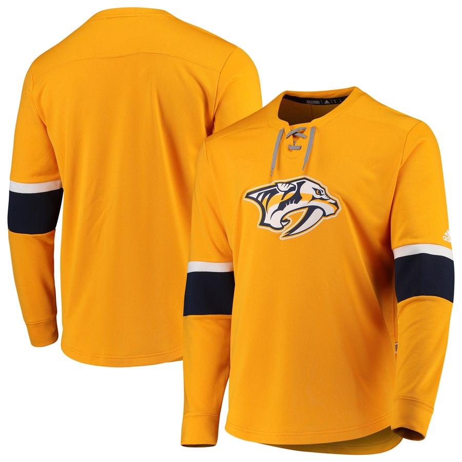 Nashville Predators adidas Platinum Long Sleeve Jersey T-Shirt Yellow