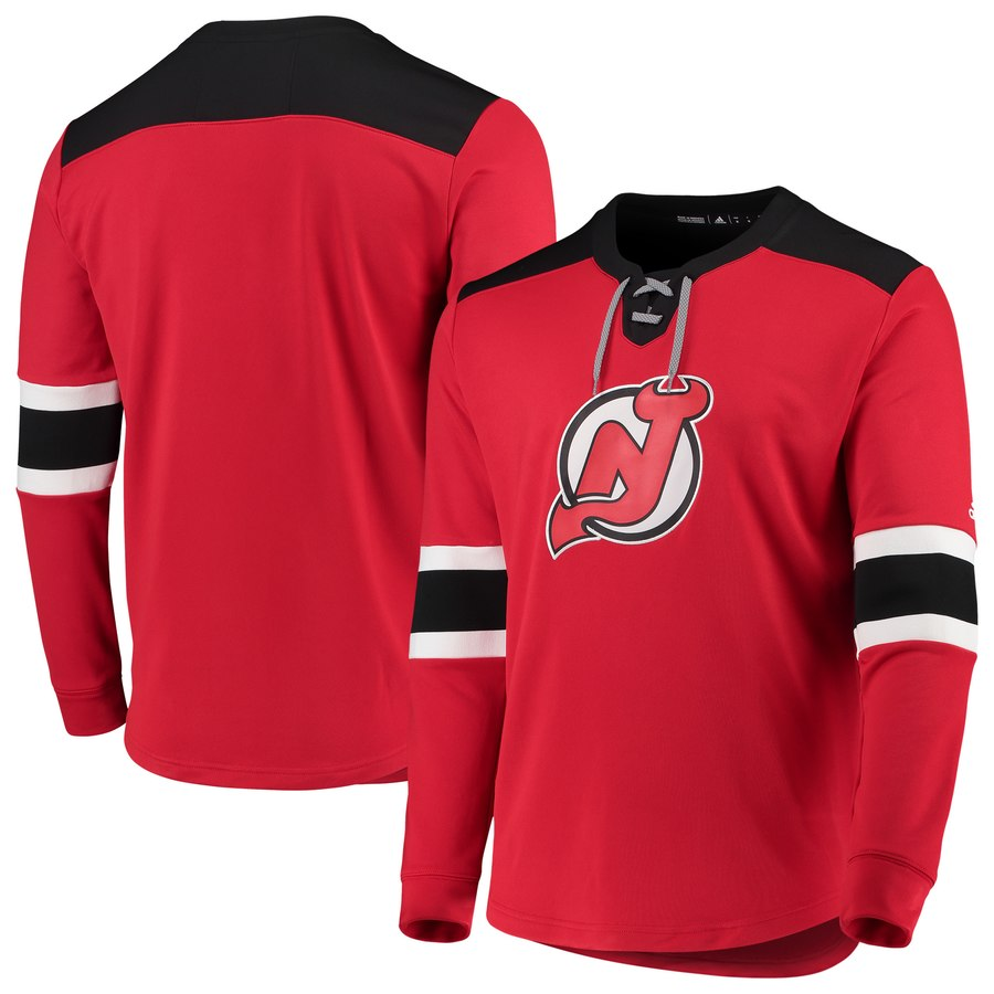 New Jersey Devils adidas Platinum Long Sleeve Jersey T-Shirt Red