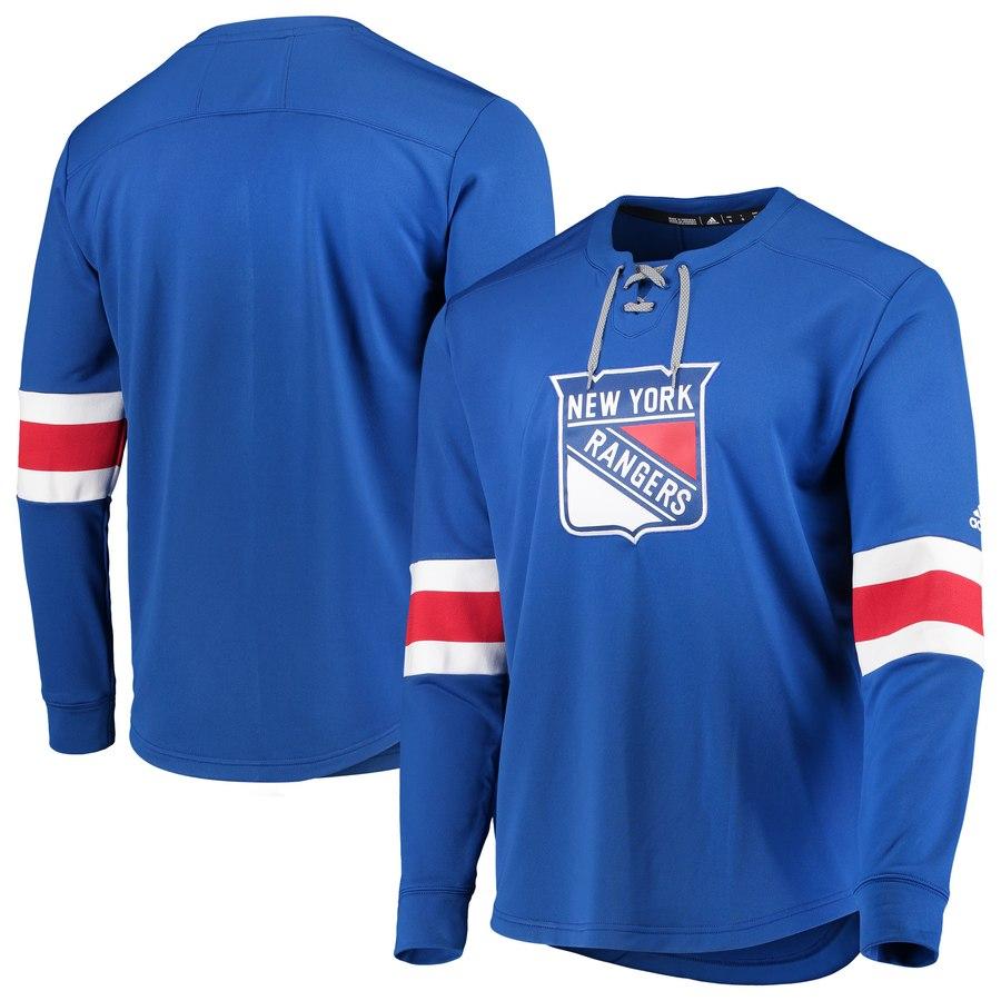 New York Rangers adidas Platinum Long Sleeve Jersey T-Shirt Blue