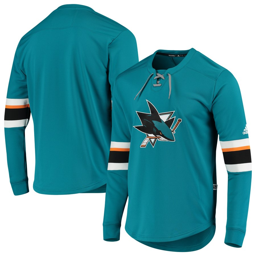San Jose Sharks adidas Platinum Long Sleeve Jersey T-Shirt Teal