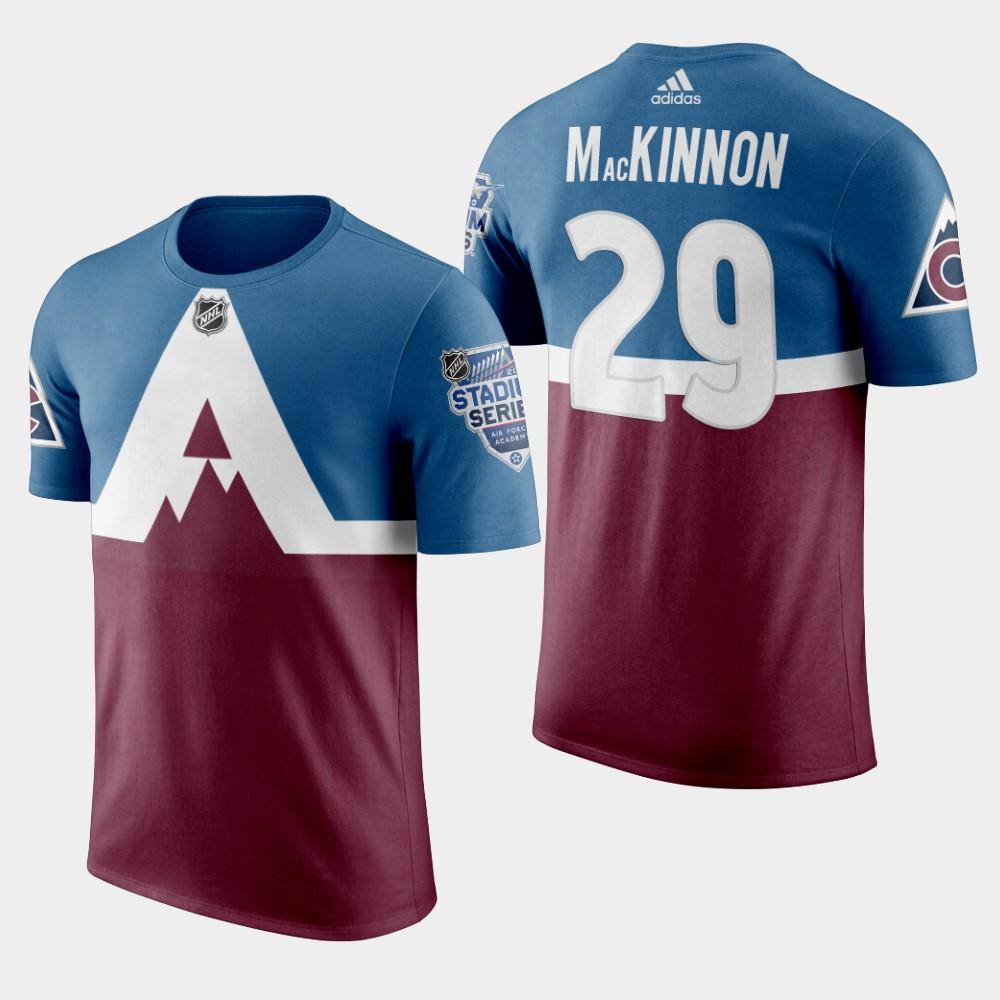 Adidas Colorado Avalanche #29 Nathan Mackinnon Men's Burgundy 2020 Stadium Series T-Shirt