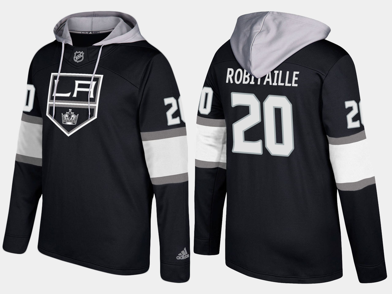 Kings #20 Luc Robitaille Black Name And Number Hoodie
