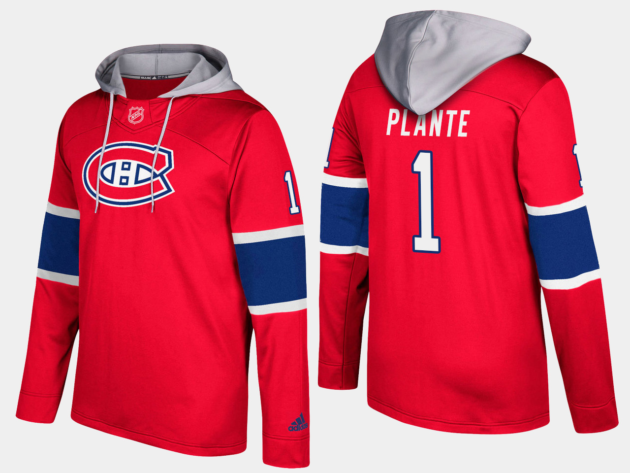 Canadiens #1 Jacques Plante Red Name And Number Hoodie