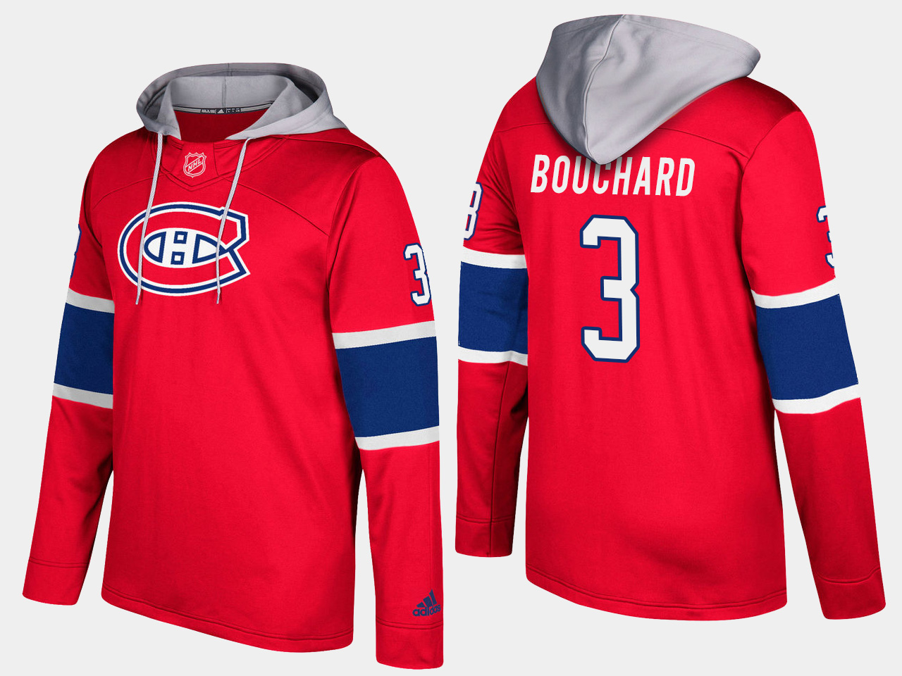 Canadiens #3 Emile Boucharde Red Name And Number Hoodie