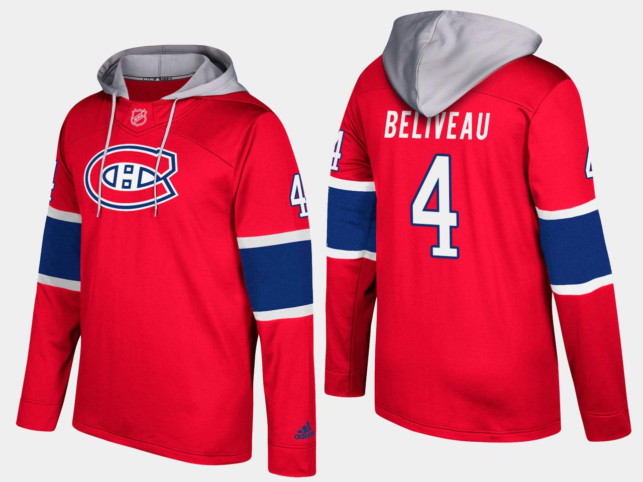 Canadiens #4 Jean Beliveau Red Name And Number Hoodie