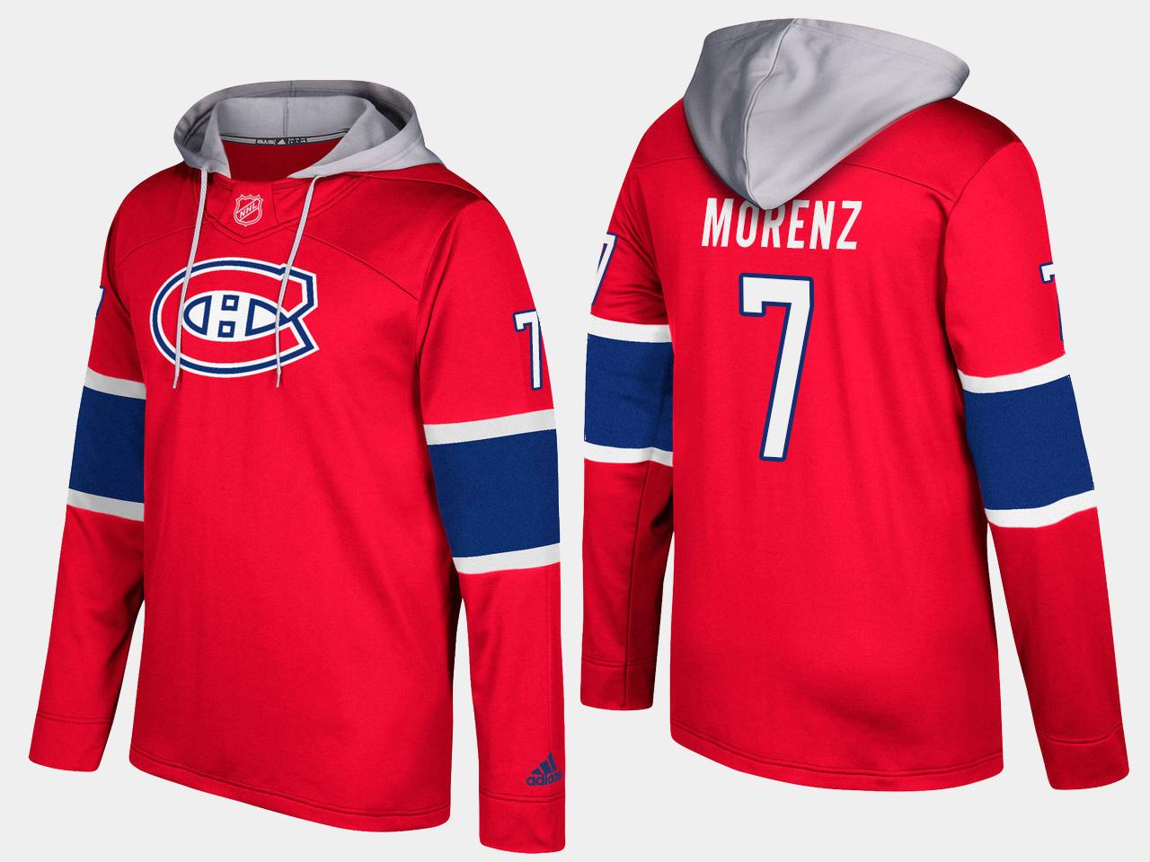 Canadiens #7 Howie Morenz Red Name And Number Hoodie