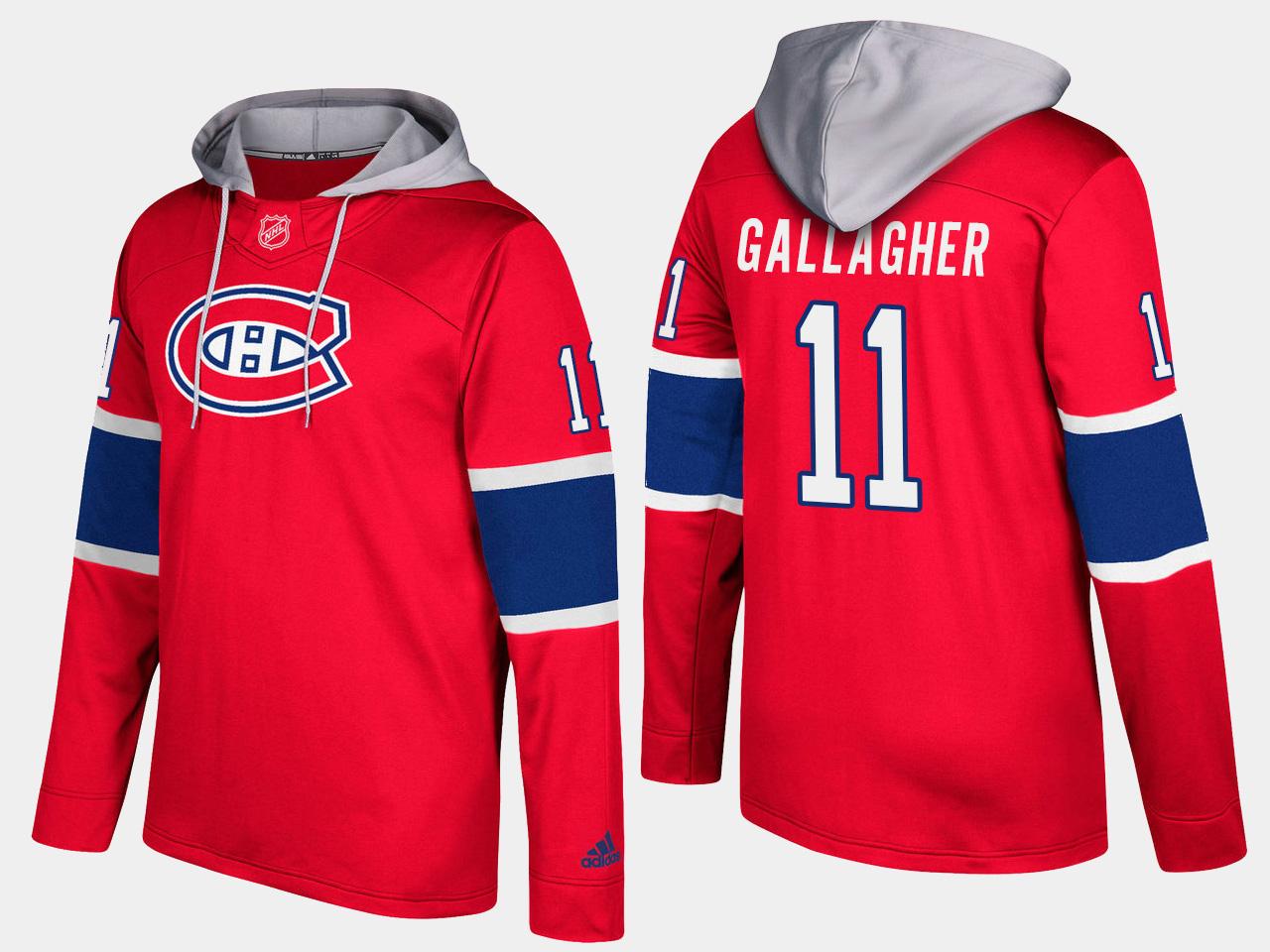 Canadiens #11 Brendan Gallagher Red Name And Number Hoodie