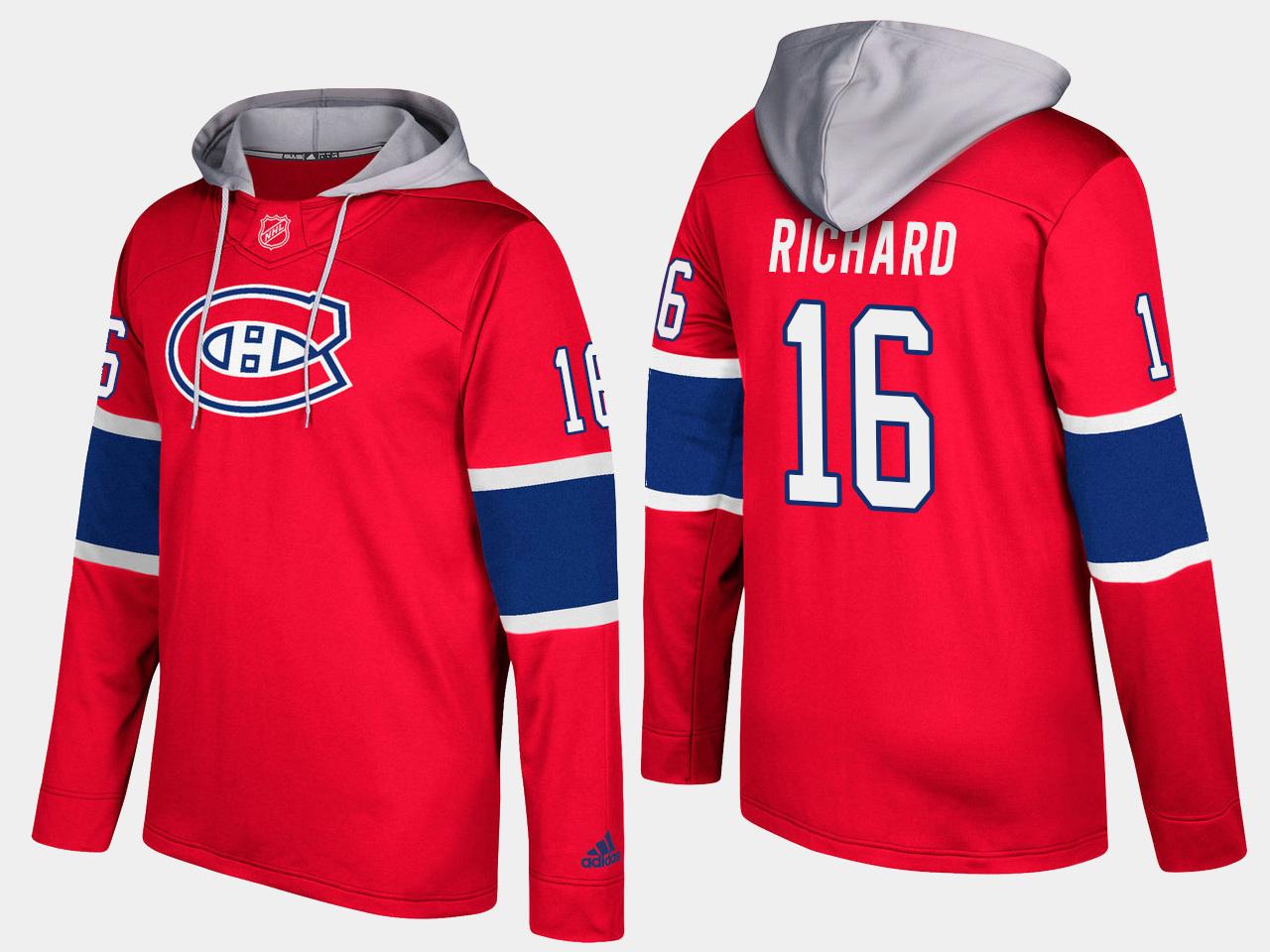 Canadiens #16 Henri Richard Red Name And Number Hoodie