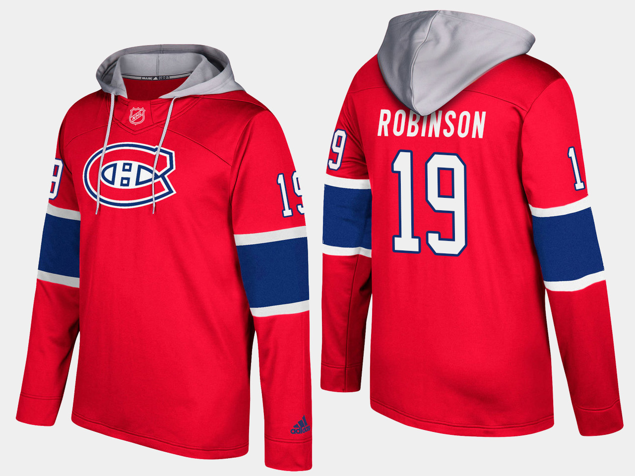 Canadiens #19 Larry Robinson Red Name And Number Hoodie
