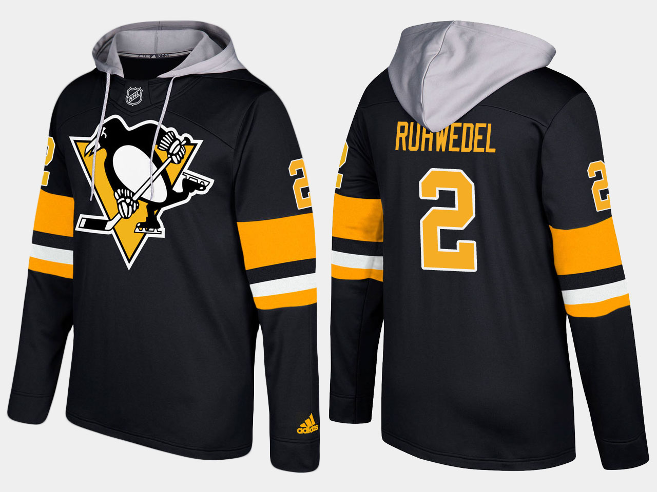 Penguins #2 Chad Ruhwedel Black Name And Number Hoodie
