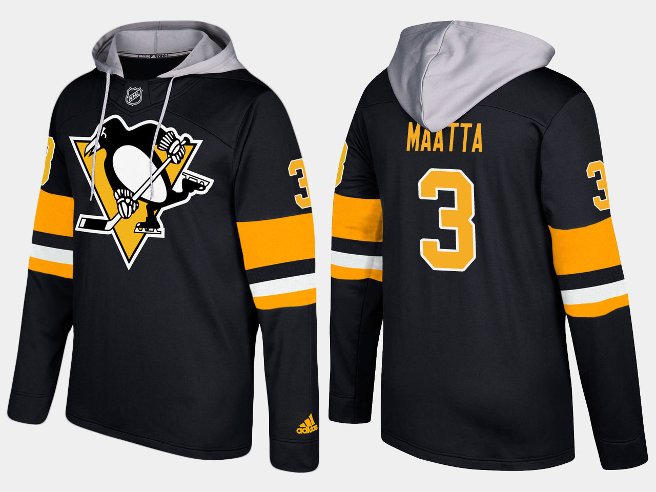 Penguins #3 Olli Maatta Black Name And Number Hoodie