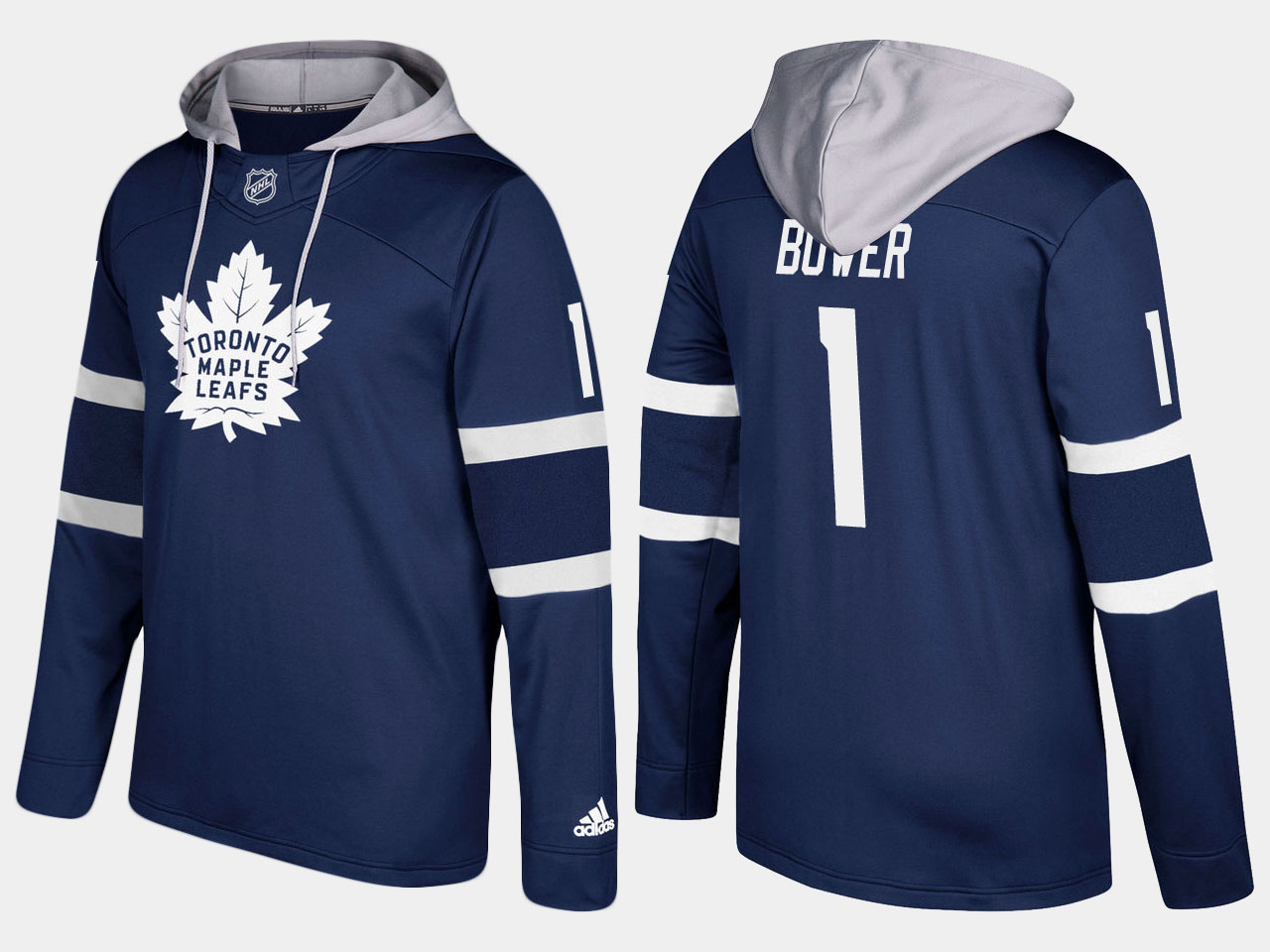 Maple Leafs #1 Johnny Bower Royal Name And Number Hoodie