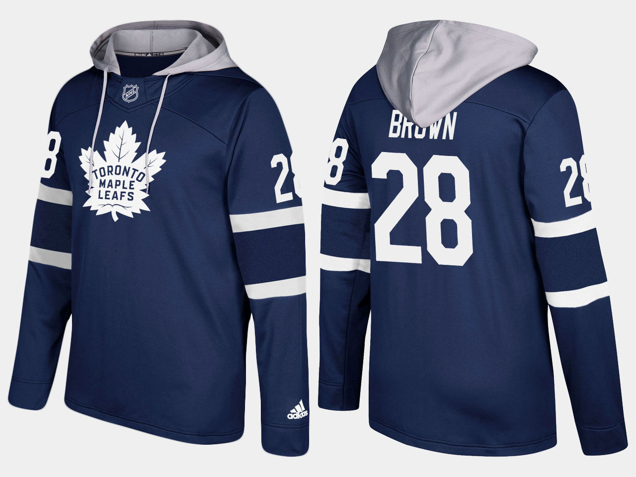 Maple Leafs #28 Connor Brown Royal Name And Number Hoodie