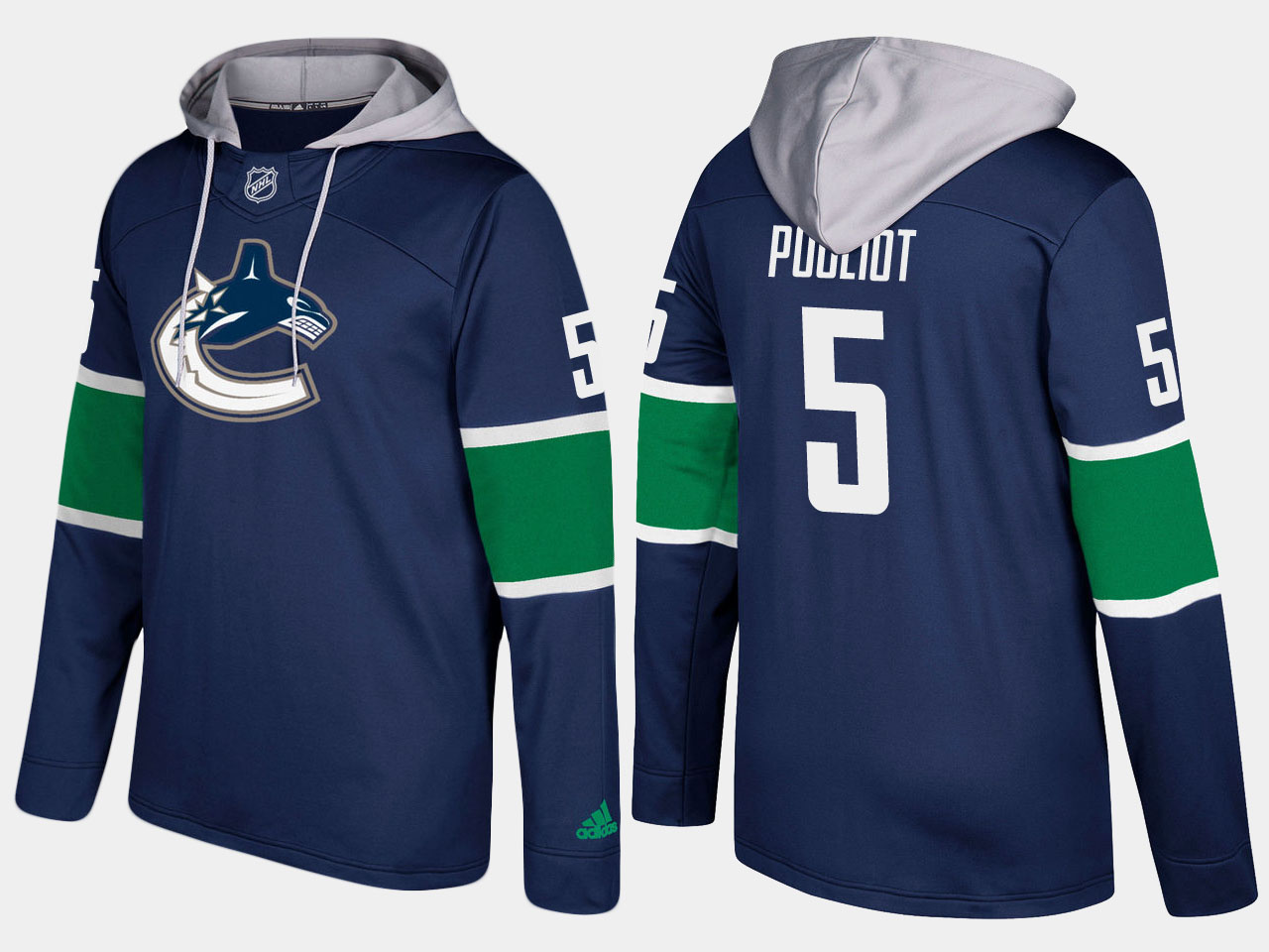 Canucks #5 Derrick Pouliot Blue Name And Number Hoodie