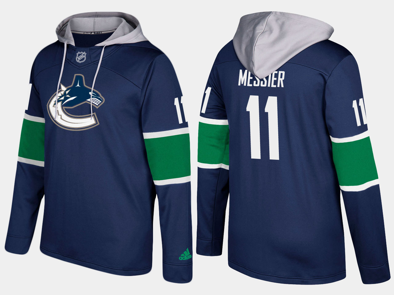 Canucks #11 Mark Messier Blue Name And Number Hoodie