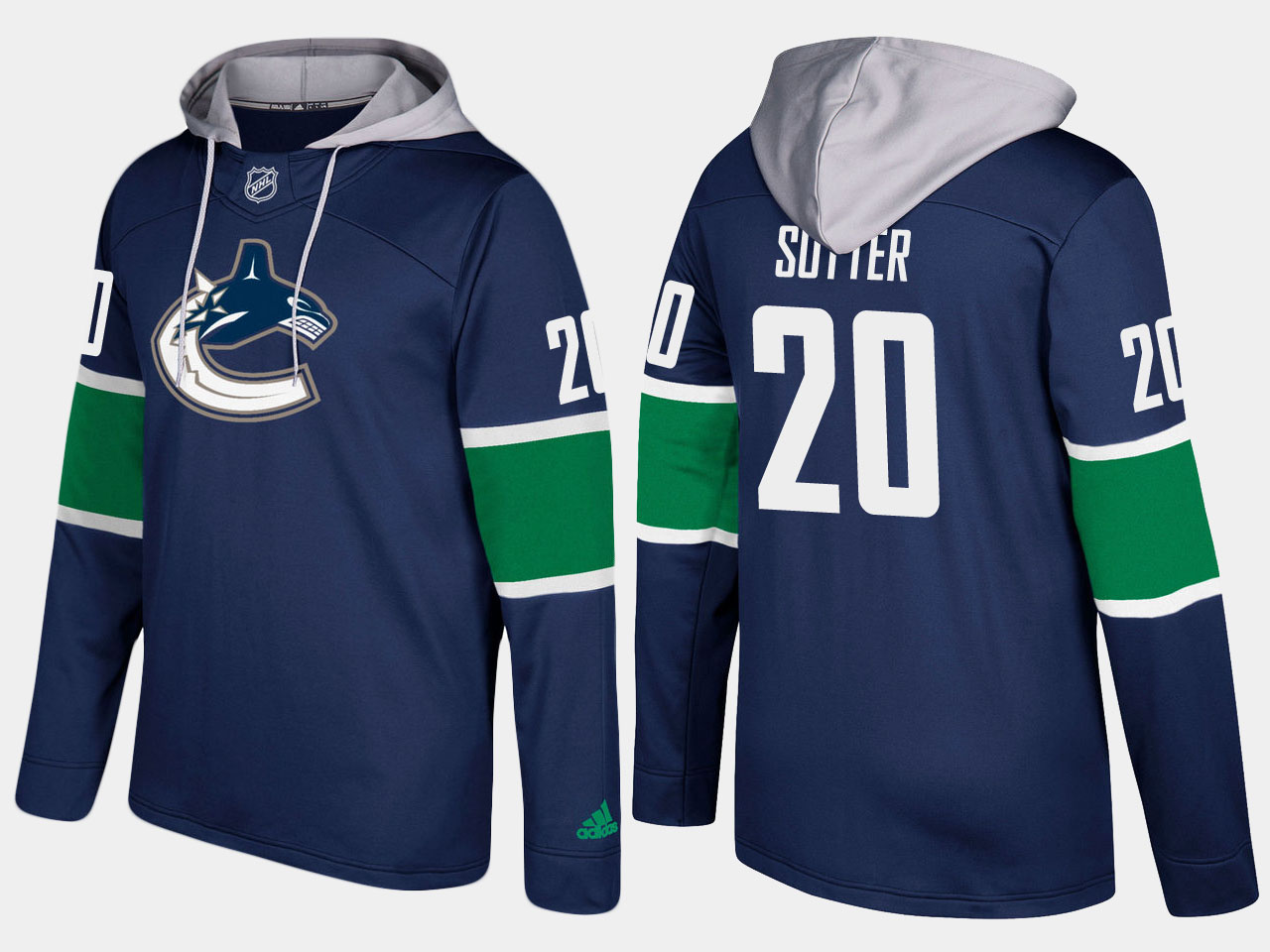 Canucks #20 Brandon Sutter Blue Name And Number Hoodie