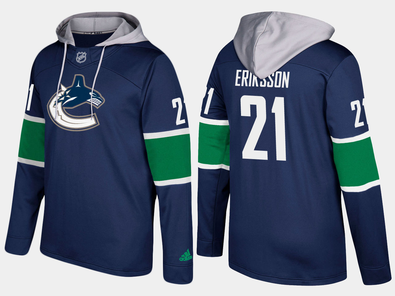 Canucks #21 Loui Eriksson Blue Name And Number Hoodie