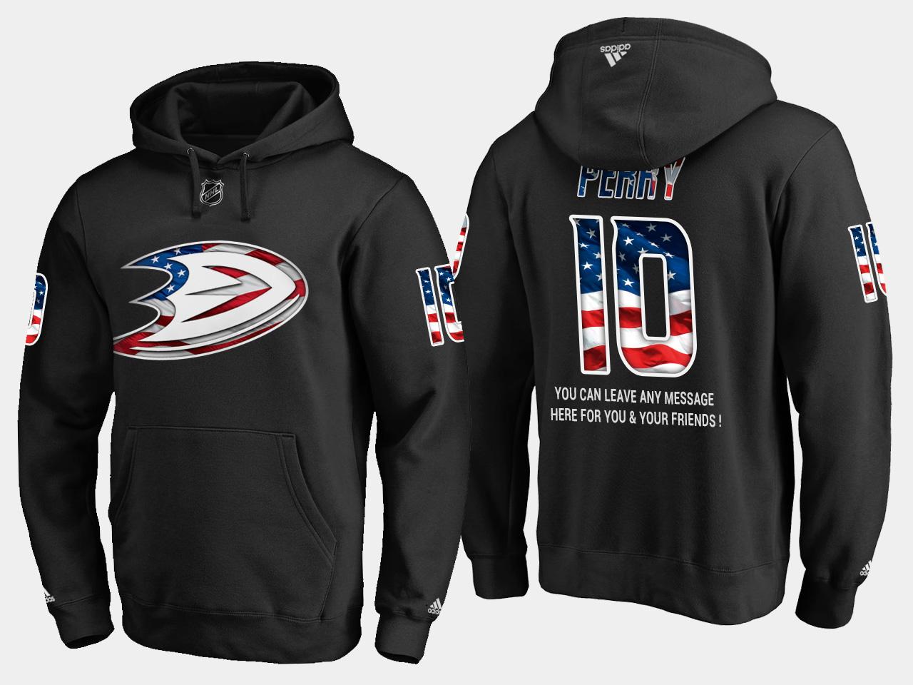 Ducks #10 Corey Perry NHL Banner Wave Usa Flag Black Hoodie