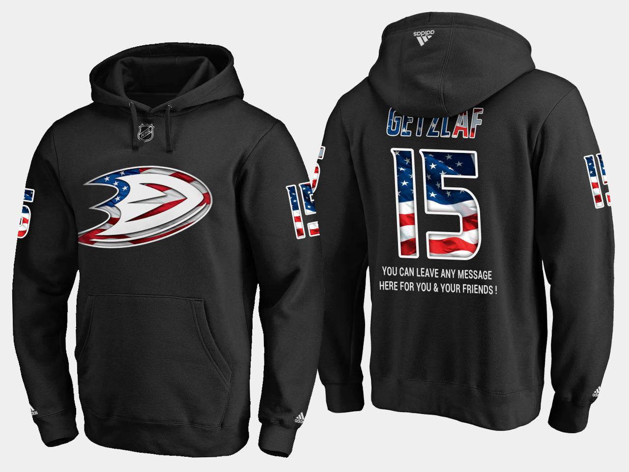 Ducks #15 Ryan Getzlaf NHL Banner Wave Usa Flag Black Hoodie
