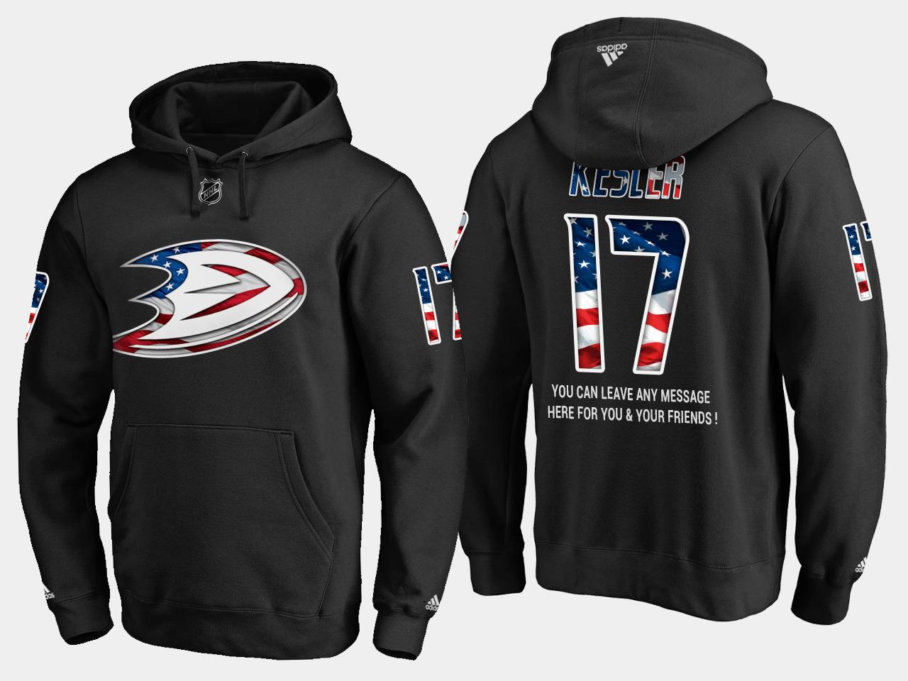 Ducks #17 Ryan Kesler NHL Banner Wave Usa Flag Black Hoodie