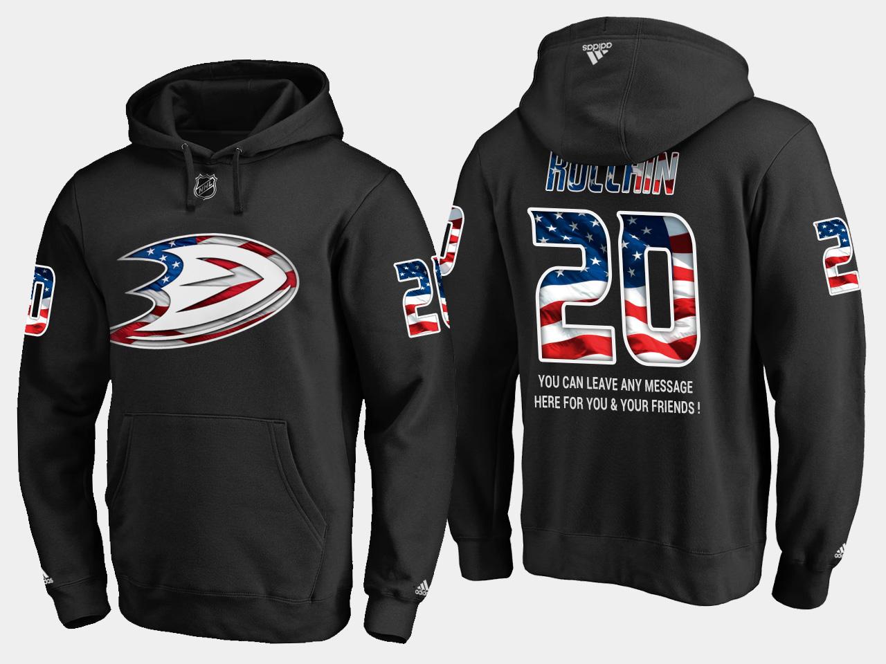 Ducks #20 Steve Rucchin NHL Banner Wave Usa Flag Black Hoodie