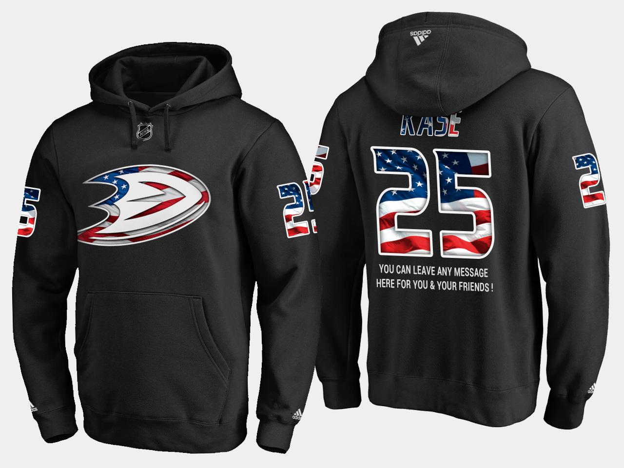 Ducks #25 Ondrej Kase NHL Banner Wave Usa Flag Black Hoodie