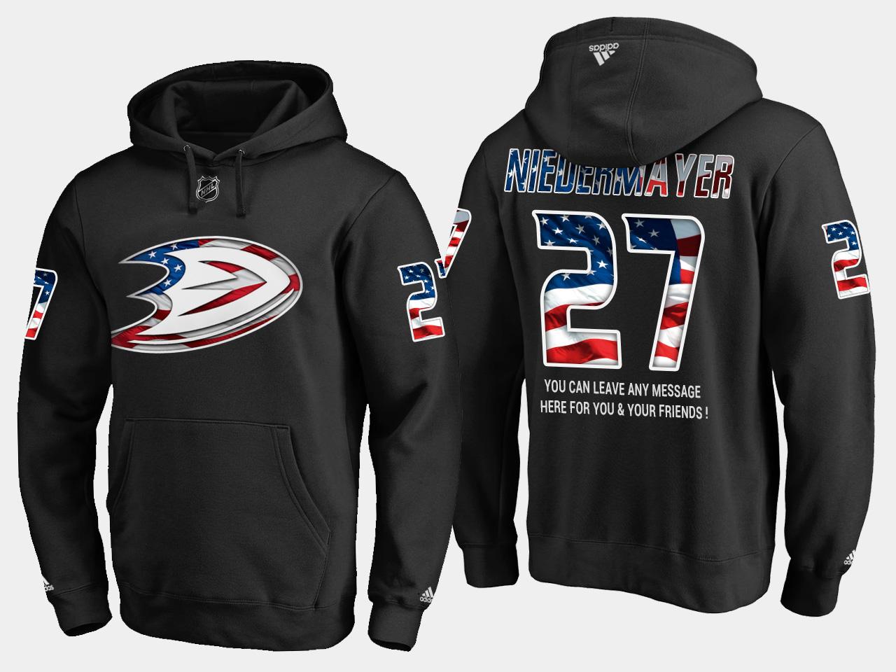 Ducks #27 Scott Niedermayer NHL Banner Wave Usa Flag Black Hoodie