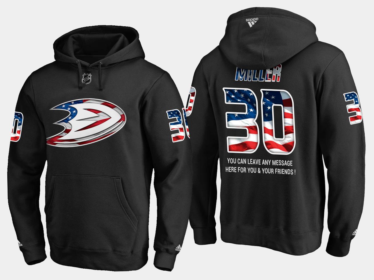 Ducks #30 Ryan Miller NHL Banner Wave Usa Flag Black Hoodie