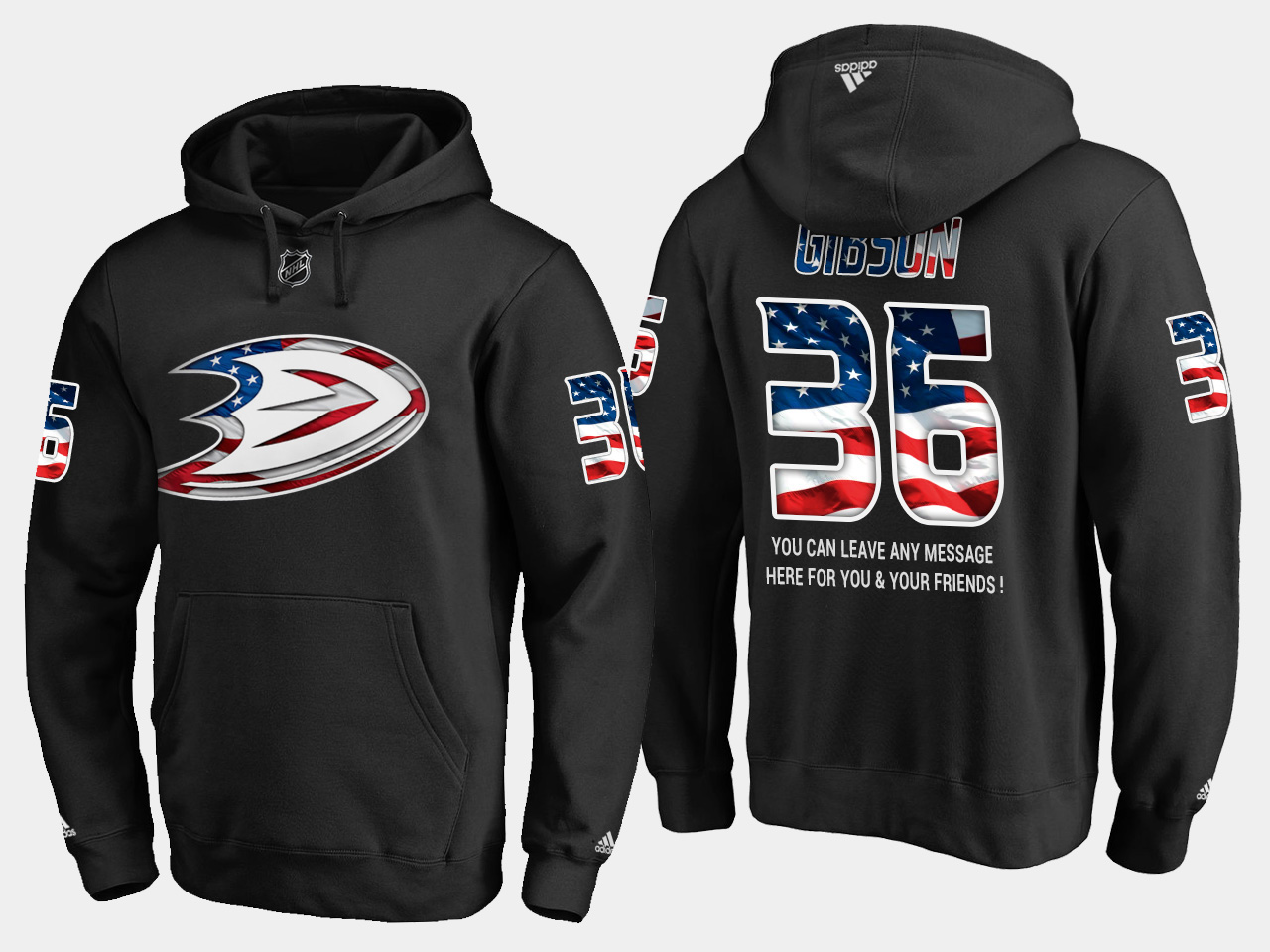 Ducks #36 John Gibson NHL Banner Wave Usa Flag Black Hoodie