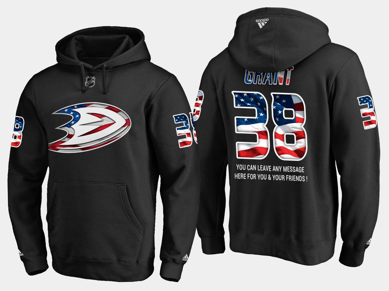 Ducks #38 Derek Grant NHL Banner Wave Usa Flag Black Hoodie