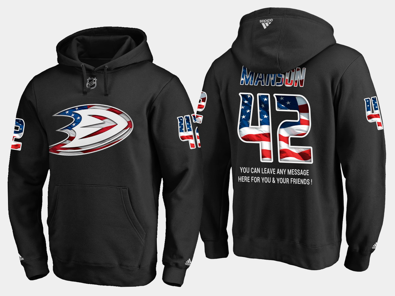 Ducks #42 Josh Manson NHL Banner Wave Usa Flag Black Hoodie