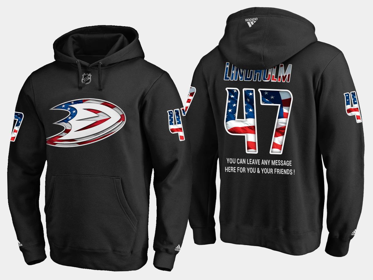 Ducks #47 Hampus Lindholm NHL Banner Wave Usa Flag Black Hoodie