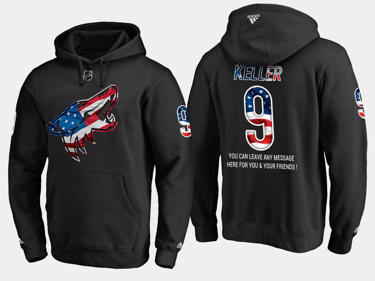 Coyotes #9 Clayton Keller NHL Banner Wave Usa Flag Black Hoodie
