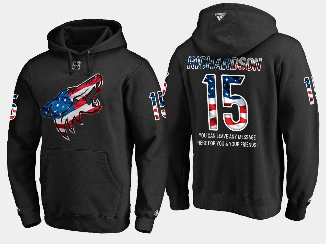 Coyotes #15 Brad Richardson NHL Banner Wave Usa Flag Black Hoodie