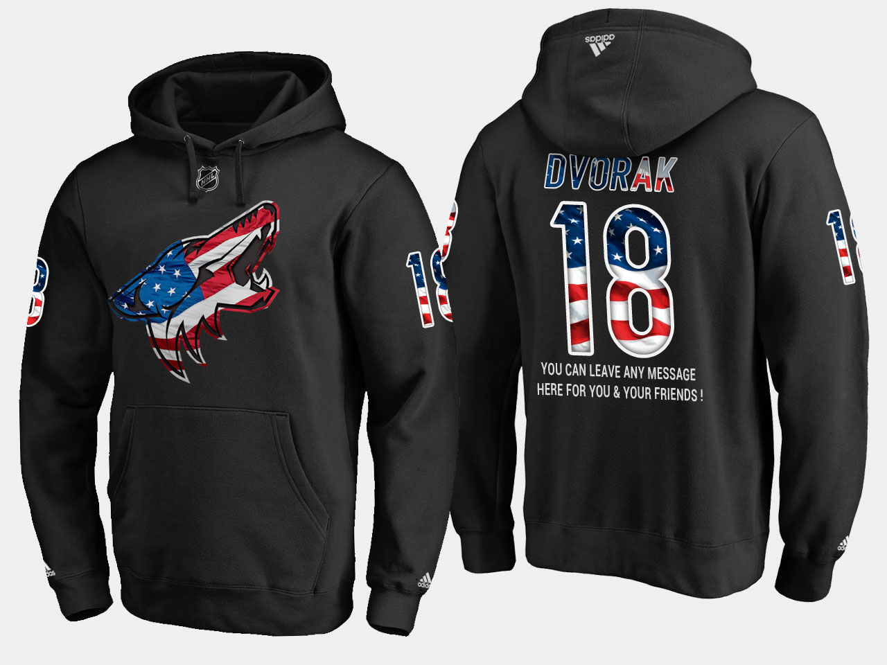 Coyotes #18 Christian Dvorak NHL Banner Wave Usa Flag Black Hoodie