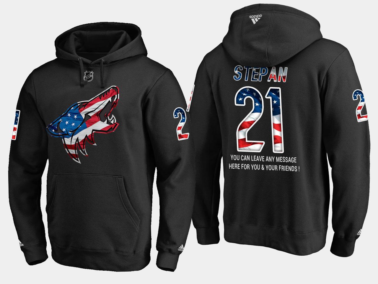 Coyotes #21 Derek Stepan NHL Banner Wave Usa Flag Black Hoodie