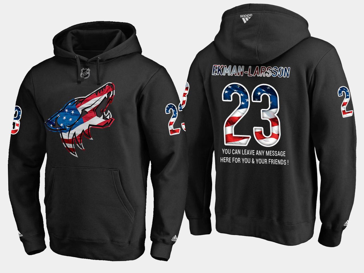 Coyotes #23 Oliver Ekman NHL Banner Wave Usa Flag Black Hoodie