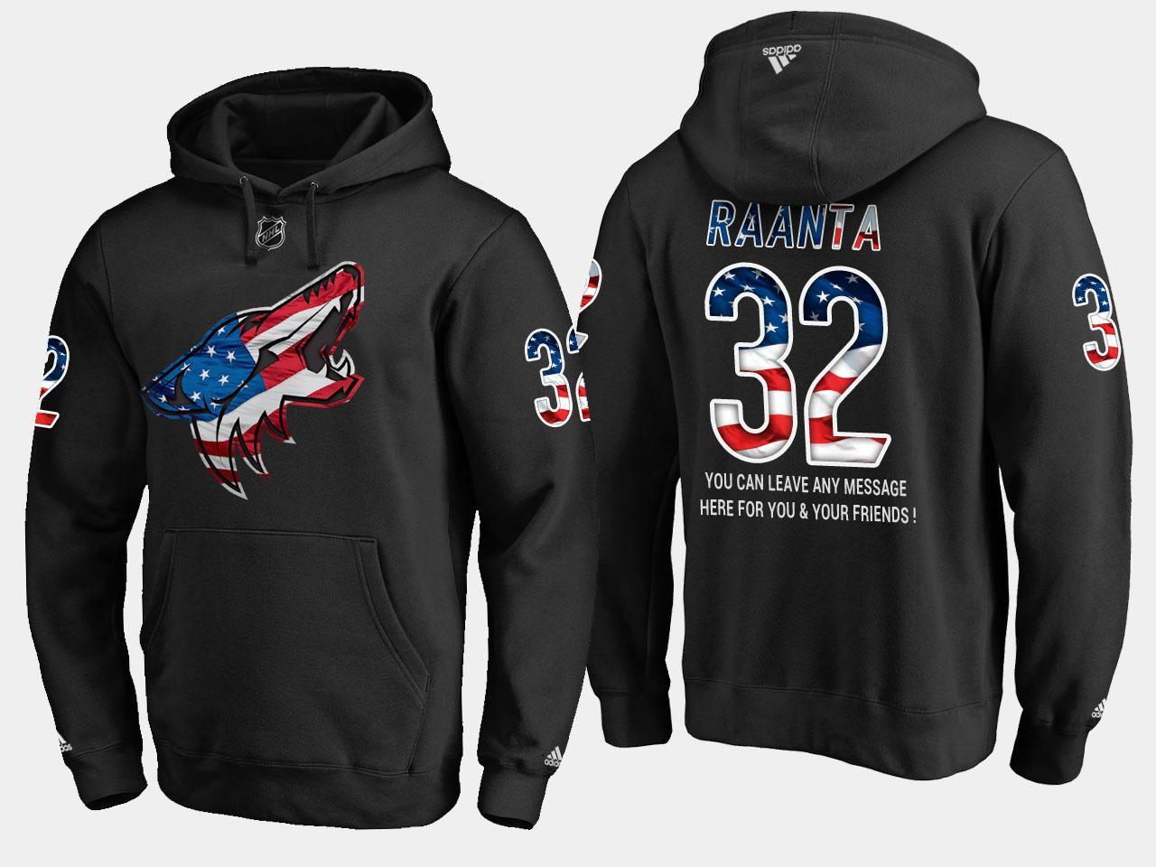Coyotes #32 Antti Raanta NHL Banner Wave Usa Flag Black Hoodie