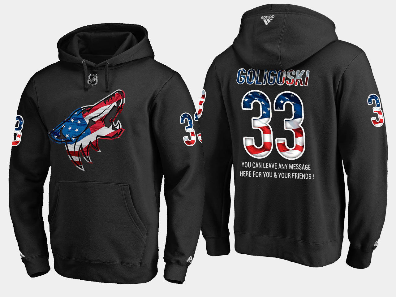 Coyotes #33 Alex Goligoski NHL Banner Wave Usa Flag Black Hoodie