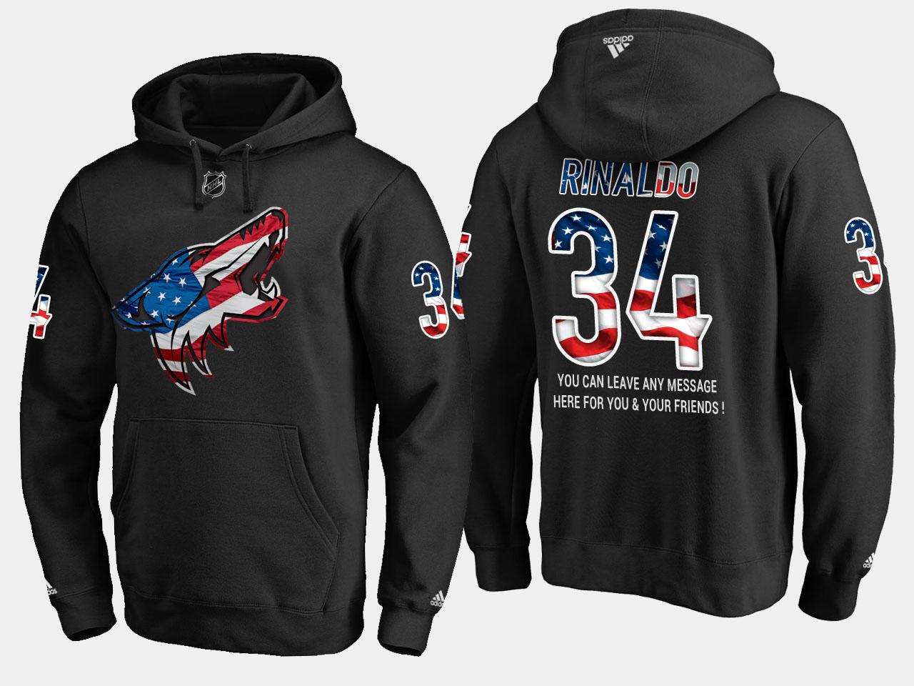 Coyotes #34 Zac Rinaldo NHL Banner Wave Usa Flag Black Hoodie