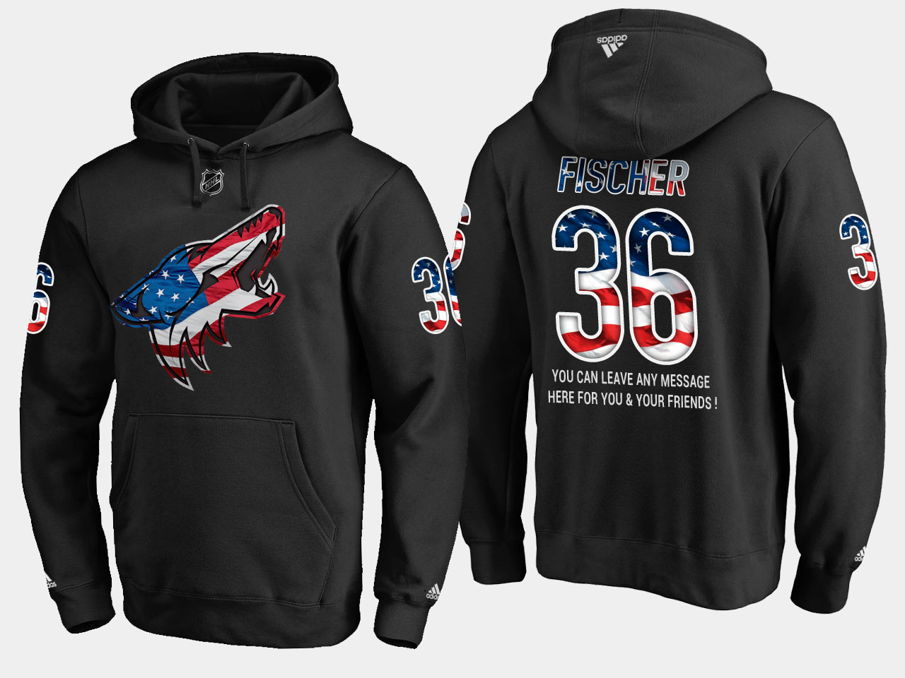 Coyotes #36 Christian Fischer NHL Banner Wave Usa Flag Black Hoodie