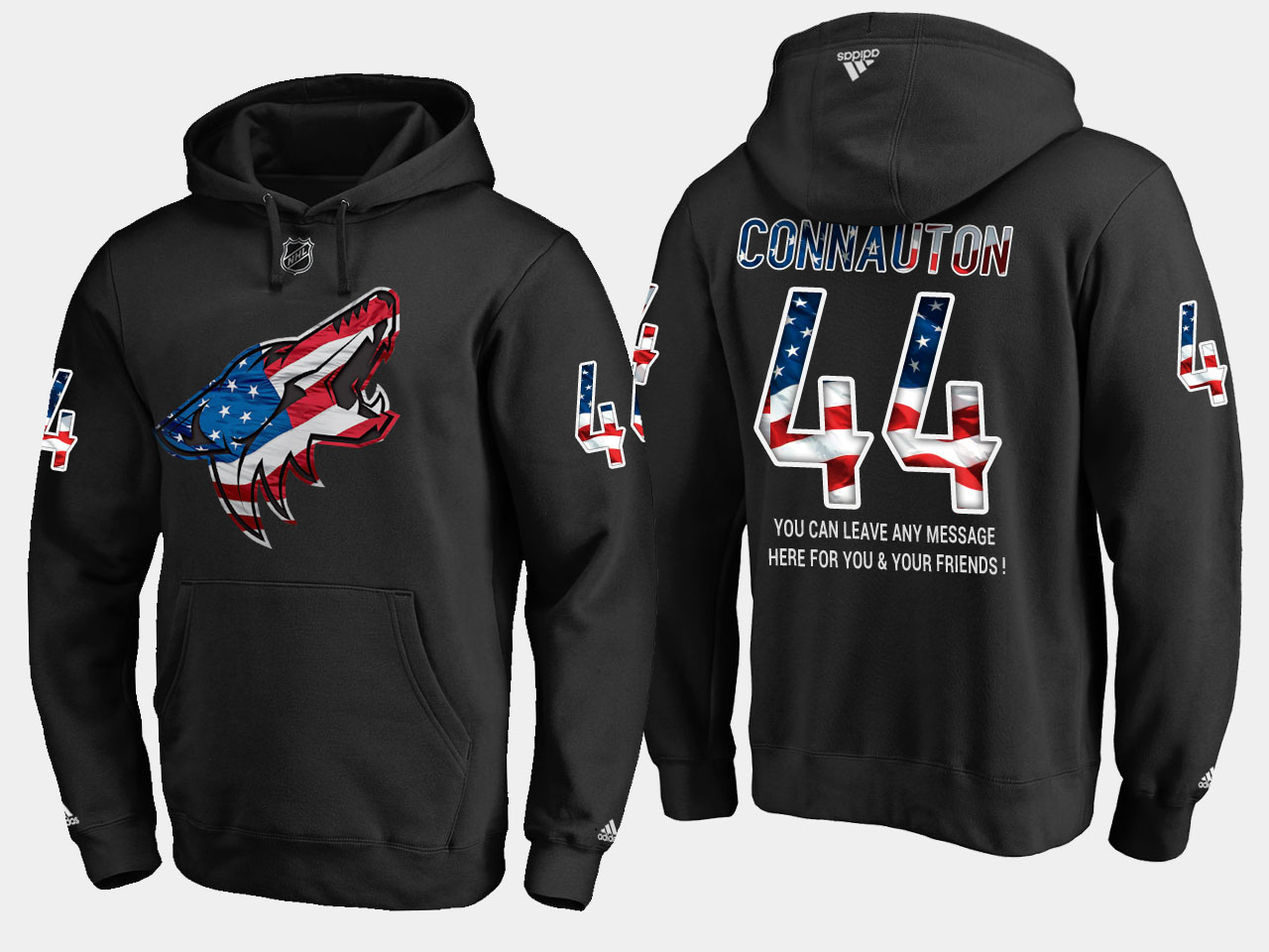 Coyotes #44 Kevin Connauton NHL Banner Wave Usa Flag Black Hoodie