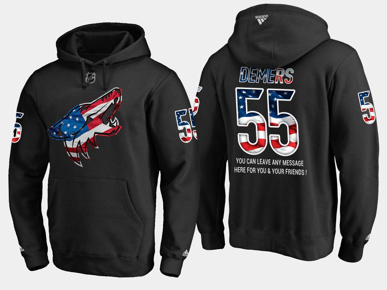 Coyotes #55 Jason Demers NHL Banner Wave Usa Flag Black Hoodie