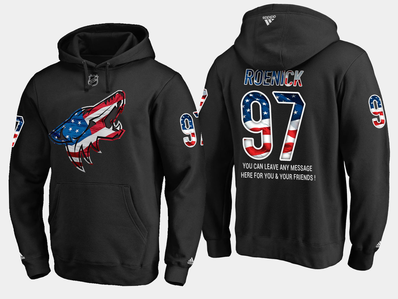 Coyotes #97 Jeremy Roenick NHL Banner Wave Usa Flag Black Hoodie