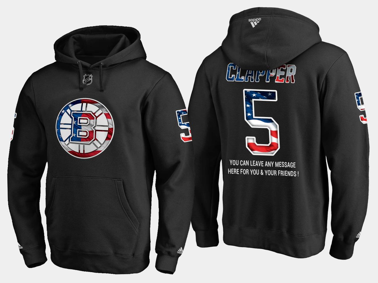 Bruins #5 Dit Clapper NHL Banner Wave Usa Flag Black Hoodie