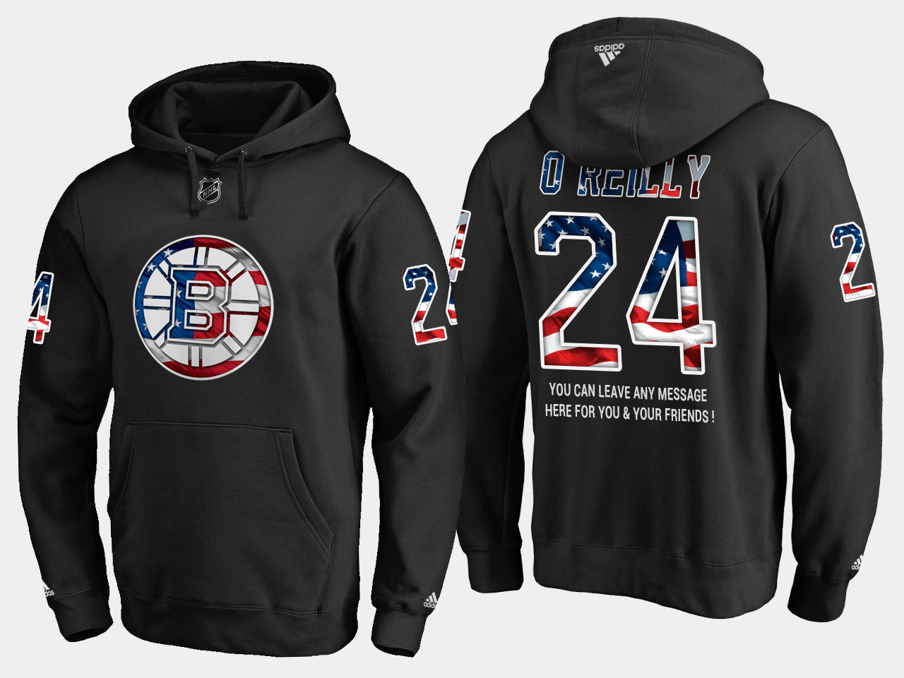 Bruins #24 Terry O'reilly NHL Banner Wave Usa Flag Black Hoodie