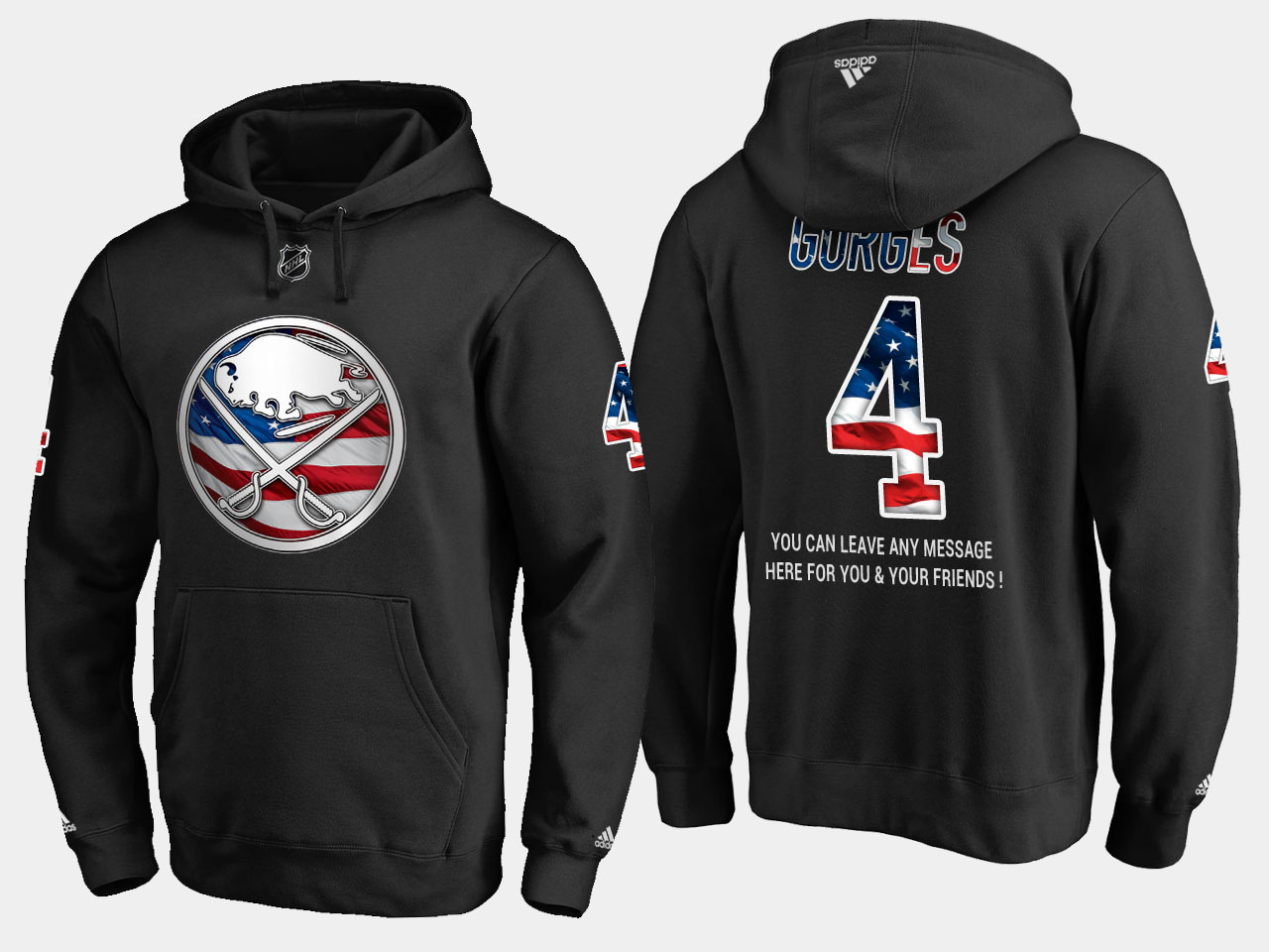 Sabres #4 Josh Gorges NHL Banner Wave Usa Flag Black Hoodie