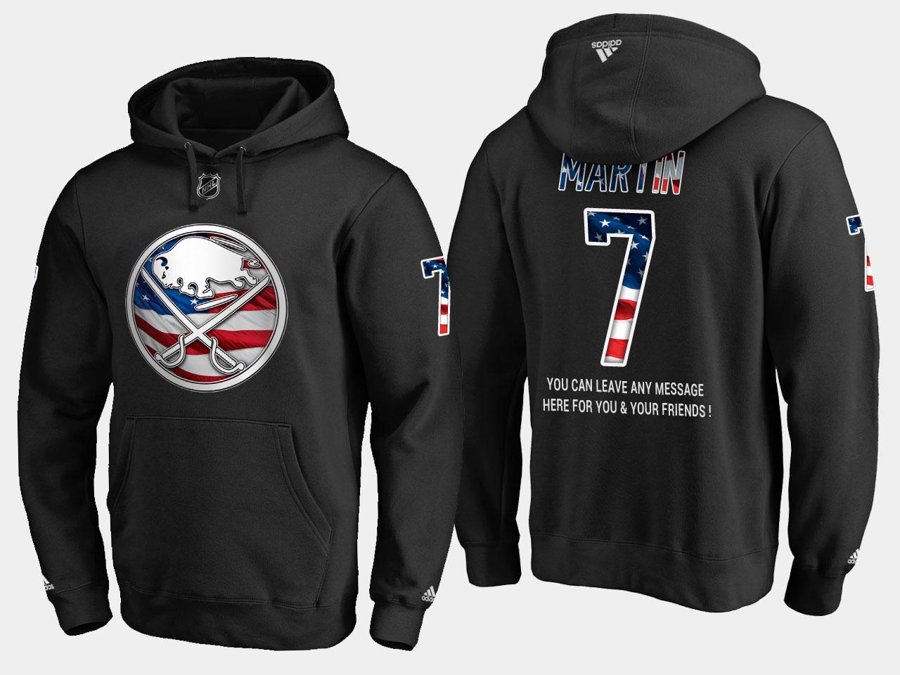 Sabres #7 Rick Martin NHL Banner Wave Usa Flag Black Hoodie