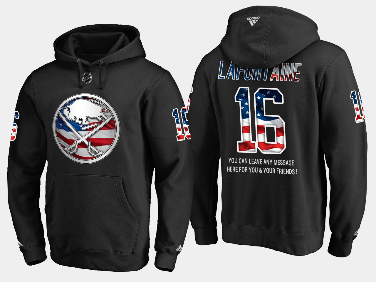 Sabres #16 Pat Lafontaine NHL Banner Wave Usa Flag Black Hoodie